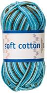 Soft Cotton Bomullsgarn 50g Turkos/Petrol/Brun Print (8880)