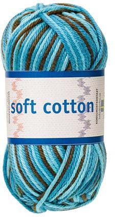 Soft Cotton Bomullsgarn 50g Turkos/Petrol/Brun Print