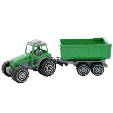 Traktor (grønn) med tilhenger, Plasto