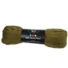 Merinoull, 21 my, 100 g, mørk oliven
