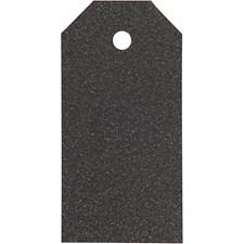 Manillamerker, str. 5x10 cm,  300 g, svart, glitter, 15stk.