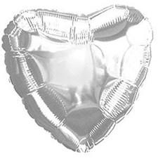Folieballong, Hjerte, 36 cm, Sølv, Rico Design