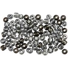 Rocaille-siemenhelmet, koko 6/0, aukon koko 0,9-1,2 mm, 25 g, kirkas harmaa