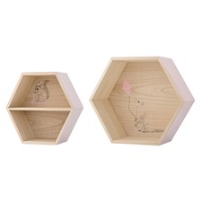 Hylla Hexagon 2-pack, Rosa, Bloomingville
