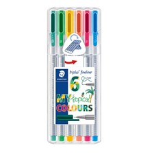 Triplus® fineliner 6-pack, i STAEDTLER-box, 0,3 mm fiberspets. Tropical