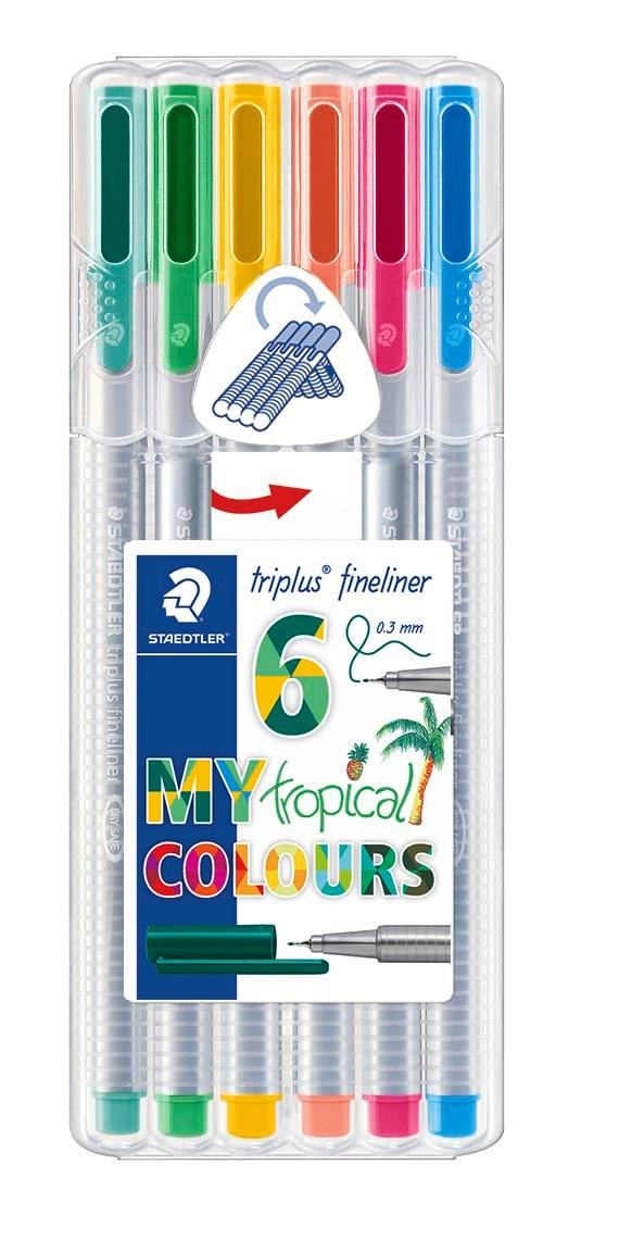 Triplus® fineliner 6-pack, i STAEDTLER-box, 0,3 mm fiberspets. Tropical