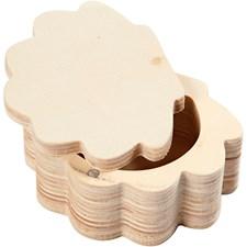 Rasia, simpukka, pitxlevxkork 6x8x4 cm, sisämitta 4,3x5x2,6 cm, vaneri, 1kpl