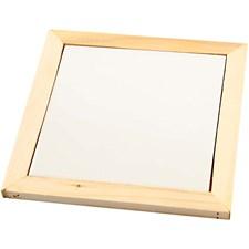 Grytunderlägg med träram, utv. mått 18,5x18,5x1,16 cm, inv. mått 15x15x0,5 cm, furu, 1st.