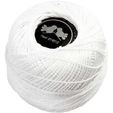 Mercerisert bomullsgarn, 20 g, hvit
