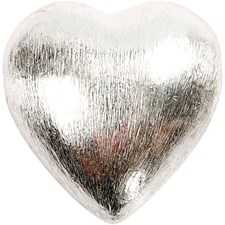 Metallpärla Hjärta 25x20x13 mm Borstat Silver 1 st