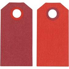 Kartonkietiketti, koko 6x3 cm, 250 g, 20 kpl, viininpunainen/punainen