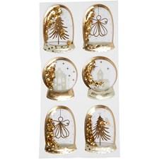 Shaker stickers, str. 49x32+45x36 mm, gull, engel, tre og hus, 6stk.