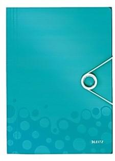 Strikkmappe 3-klaffer Leitz WOW A4 PP isblå