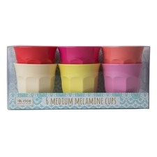 Rice Sunny Colors Muggar 6-pack H: 9 cm Melamin