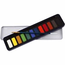 Akvarellfärg med Ask och Pensel 12 Färger