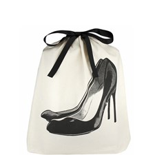 Bag-all Black Pumps Sko Pose 100% Bomull 33x31x6 cm Svart/Hvit