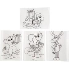 Krympeplast Plater med motiver, ark 10,5x14,5 cm, 4 ass. ark, matt transparent