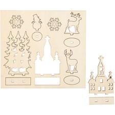 Sätt-ihop-själv träfigurer, kyrka, julgran, ren, L: 15,5 cm, B: 17,5 cm, plywood, 1förp., tjocklek 3 mm
