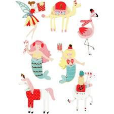 3D stickers, H: 50-60 mm, B: 30-45 mm, flamingo, lama, sjöjungfru, 7st., tjocklek 7 mm