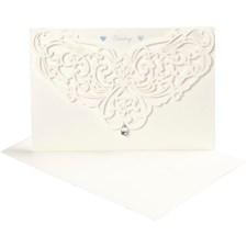 Luksus kort og konvolutt, råhvit, kort str. 12x17,7 cm, konvolutt str. 18x12,5 cm, 5sett, 230 g
