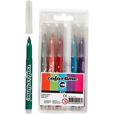 Colortime glittertusj, strektykkelse: 4,2 mm, ass. Farger, 6stk.