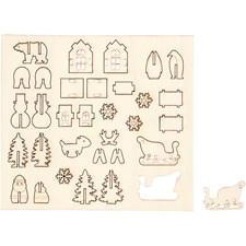 Sätt-ihop-själv träfigurer, jul, L: 15,5 cm, B: 17,5 cm, plywood, 1förp., tjocklek 3 mm