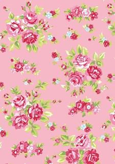 Bomullstyg Rosor 55x55 cm Rosa/Röd