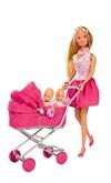 Steffi med vagn & bebisar (rosa kjol)