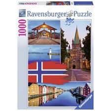 Puslespill, Trondheim Collage, 1000 brikker, Ravensburger