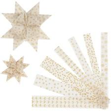 Stjernestrimler, B: 15+25 mm, dia. 6,5+11,5 cm, hvit, gull, vellum, 48strimler, L: 44+78 cm