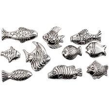 Fisk, str. 14-25 mm, hullstr. 1,5 mm, 20 ass., antikk sølv