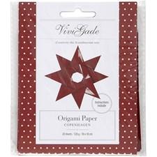 Origamipapper, stl. 10x10 cm, 128 g, 20 ark, röd