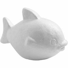 Fisk, H: 8 cm, L: 12 cm, hvit, isopor, 5stk.