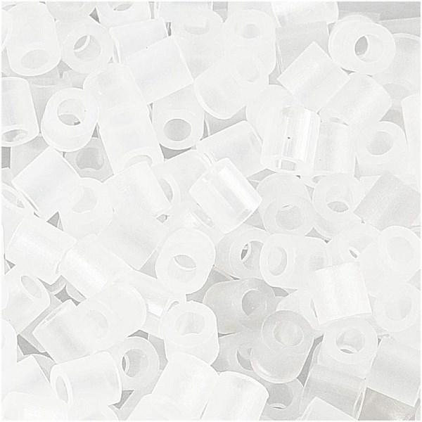 Rörpärlor, stl. 5x5 mm, hålstl. 2,5 mm, transparent (50), medium, 6000st.