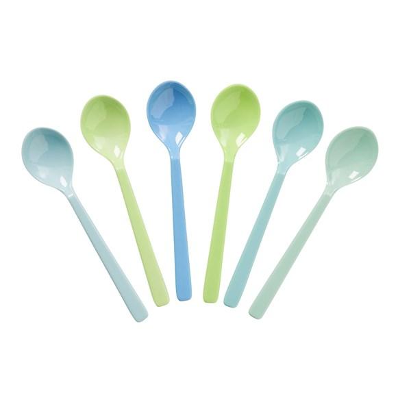 Rice Teskedar 6-pack Blå Gröna - Besteick