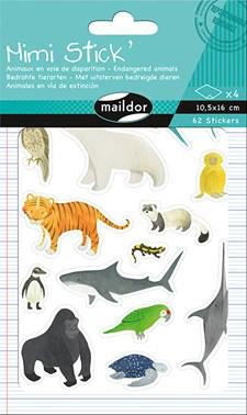 Klistermärken, Mimi Stick', 4 ark 10,5x16 cm, Utrotningshotade djur, 62 st