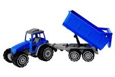 Traktor (blå) med släpvagn, Plasto