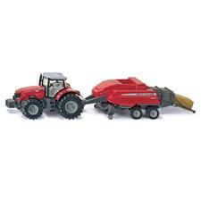 Siku traktor med ballmaskin M Feerguson 1:50
