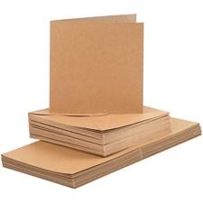 Kort og konvolutter, kort str. 15x15 cm, konvolutt str. 16x16 cm, natur, 50sett