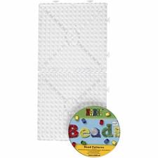 Perleplate med CD, str. 15x15 cm, transparent, JUMBO - stor samlekvadrat, 1sett