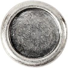 Cabochon leddperle, 19 mm, hullstr. 14 mm, 3 stk., antikk sølv
