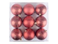 Joulukuusenpallot suuret Tummanpunainen