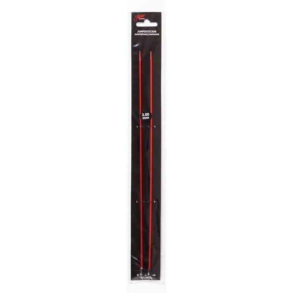 Rette strikkepinner 30cm/5,00mm Rød