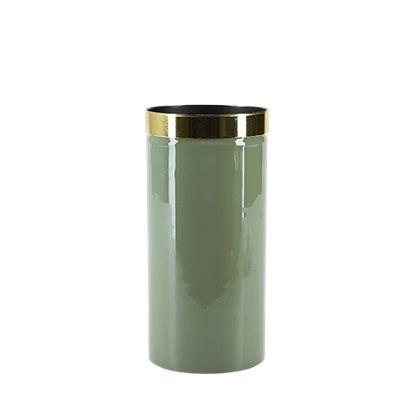 Grön Vas Med Guldkant  20x10 cm  Bahne & Co - vaser