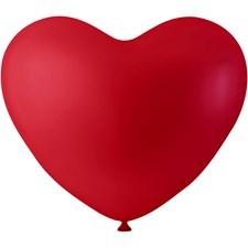 Ballonger, rød, hjerter, 8stk.