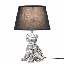Lampa Sittande Hund Silver 42 cm