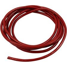 Lærsnor, tykkelse 4 mm, 2 m, rød