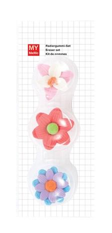 Viskelær 3D Blomster 3 stk., ca. 3 x 3 cm