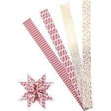 Stjernestrimler, B: 40 mm, dia. 18 cm, hvit, gull, rød, XL - metall folie, 40strimler, L: 100 cm