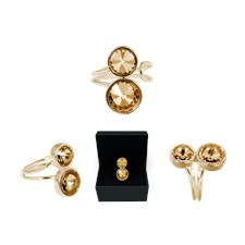 Ioaku Kai Ring Alloy Gold/Amber
